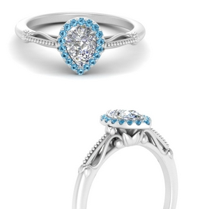pear shaped halo floral shank blue topaz engagement ring in white gold FD124330PERGICBLTOANGLE3 NL WG