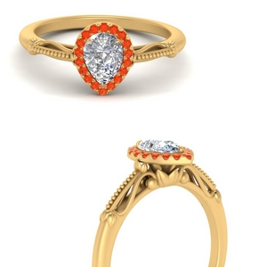 pear shaped halo floral shank orange topaz engagement ring in yellow gold FD124330PERGPOTOANGLE3 NL YG