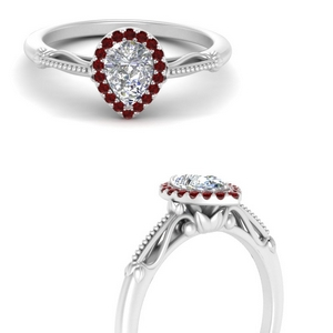 pear shaped halo floral shank ruby engagement ring in white gold FD124330PERGRUDRANGLE3 NL WG