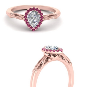 pear shaped halo floral shank pink sapphire engagement ring in rose gold FD124330PERGSADRPIANGLE3 NL RG