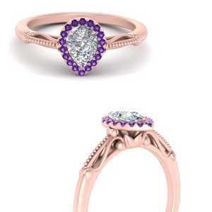 pear shaped halo floral shank purple topaz engagement ring in rose gold FD124330PERGVITOANGLE3 NL RG