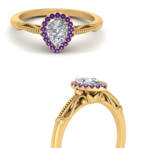 pear shaped halo floral shank purple topaz engagement ring in yellow gold FD124330PERGVITOANGLE3 NL YG