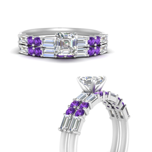 asscher-cut-baguette-engagement-ring-with-purple-topaz-wedding-band-in-FDENS275ASGVITOANGLE3-NL-WG