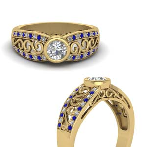 Antique Style Filigree Rings With Sapphire