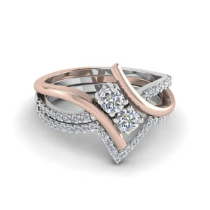 two tone bypass diamond bridal set in 14K rose gold FD652210RO NL RG
