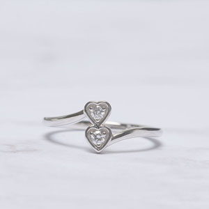double heart diamond crossover alternate engagement ring in 14K white gold FD-8025ROR NL WG