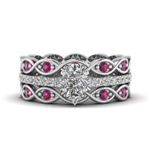 pear shaped trio infinity band diamond ring sets with pink sapphire in FD8047TPEGSADRPIANGLE1 NL WG