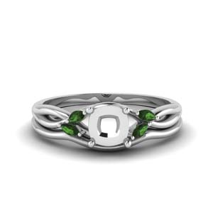 Platinum Semi Mount Wedding Ring Set