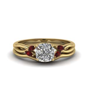 Yellow Gold Ruby Twisted Ring Set
