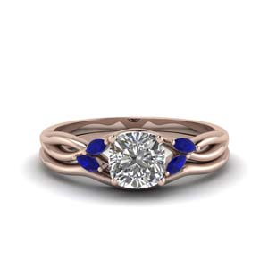 Rose Gold Cushion Cut Twisted Ring Set