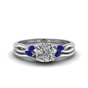 White Gold Sapphire Diamond Ring Set