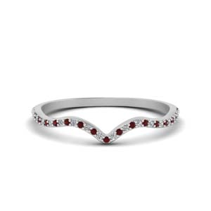Thin Curved Band With Ruby
