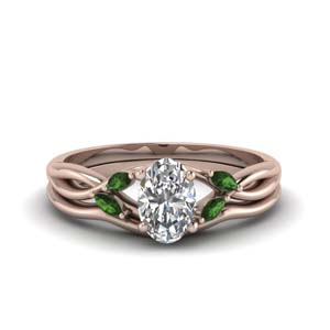 Split Shank Emerald Ring Set