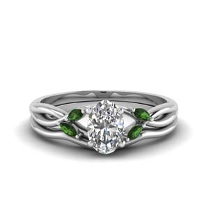 Oval Shaped Platinum Ring Set