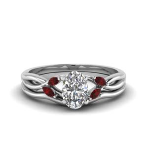 Oval Shaped Ruby Ring Set