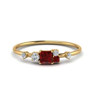 Ruby Non Symmetrical Ring