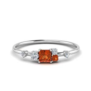 Orange Sapphire Wedding Ring
