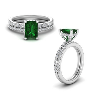 Petite Micropave Emerald Bridal Set