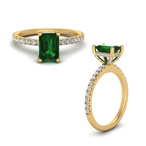 Micropave Emerald Wedding Ring