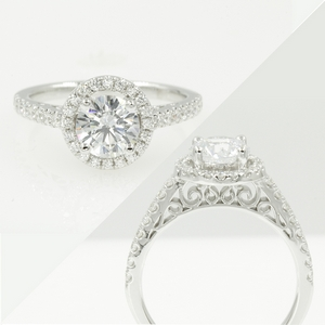 Moissanite Round Halo Engagement Ring