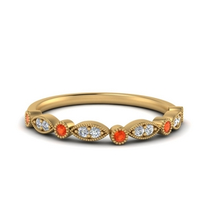 Orange Topaz Milgrain Women Band