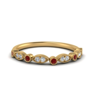 Marquise And Dot Ruby Band