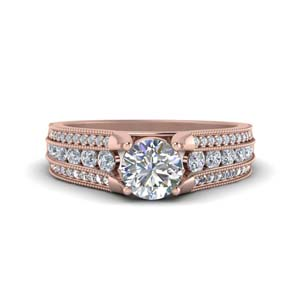 Milgrain 3 Row Diamond Ring