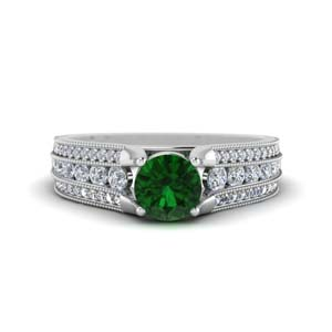 Emerald Antique White Gold Ring