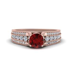 Three Row Diamond Ring With Ruby