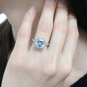petite asscher cut diamond halo engagement ring in FD9024ASR NL WG