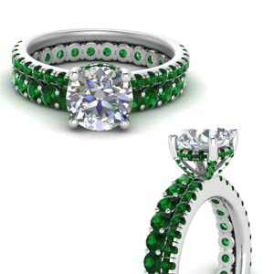 Hidden Halo Emerald Bridal Set
