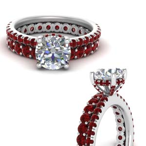 Hidden Halo Diamond Ring With Ruby Band