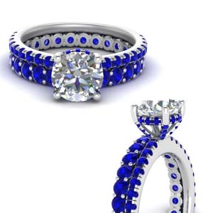 Eternity Sapphire Wedding Ring Set