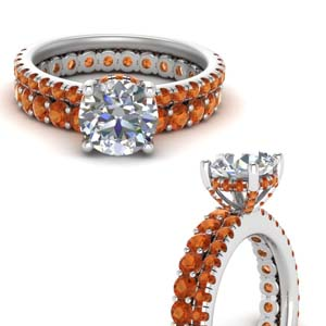 Hidden Halo Ring With Orange Sapphire Band