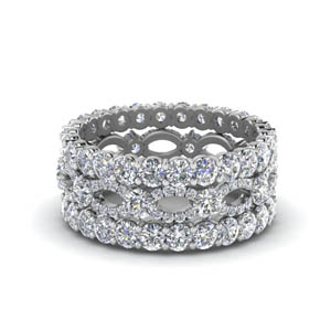 Platinum Unique Diamond Stack Band
