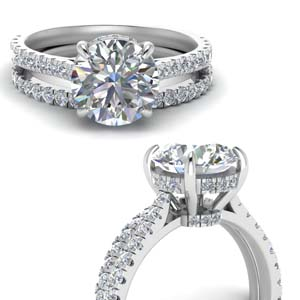 Round Diamond Hidden Halo Ring Set