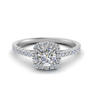 square halo french pave diamond engagement ring in FD9155ROR NL WG