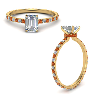 Emerald Cut Orange Sapphire Eternity Ring