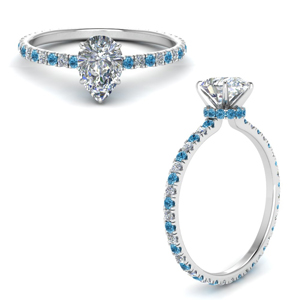 Blue Topaz Hidden Halo Ring