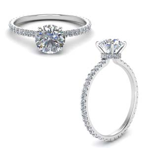 Moissanite Hidden Halo Engagement Ring