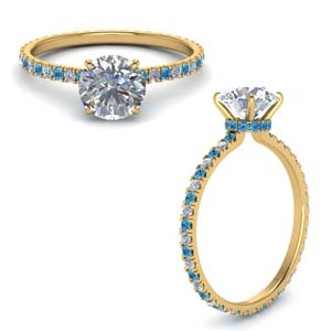 Blue Topaz 1 Carat Diamond Ring