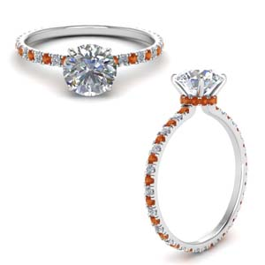 Orange Sapphire Under Halo Ring