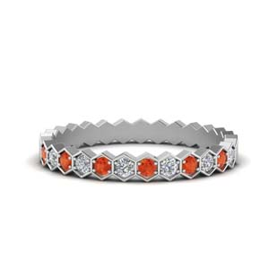 Orange Topaz Hexagon Women Band