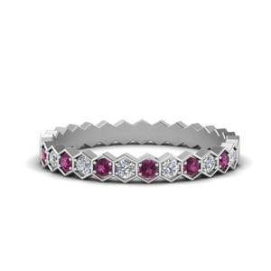 Pink Sapphire Women Wedding Band