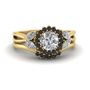 Flower Halo Black Diamond Ring Set