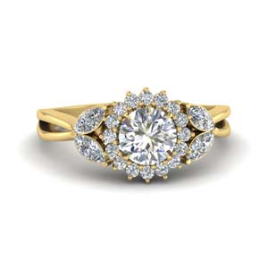 Halo Split Shank Diamond Ring