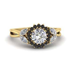 18K Gold Black Diamond Ring