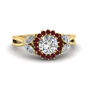 Flower Split Shank Ruby Ring