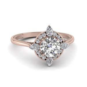 Halo Diamond Ring With Channel Set