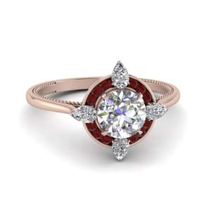 Channel Set Halo Ruby Ring
